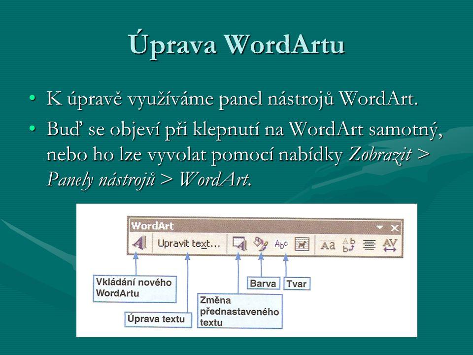 Úprava WordArtu K úpravě využíváme panel nástrojů WordArt.