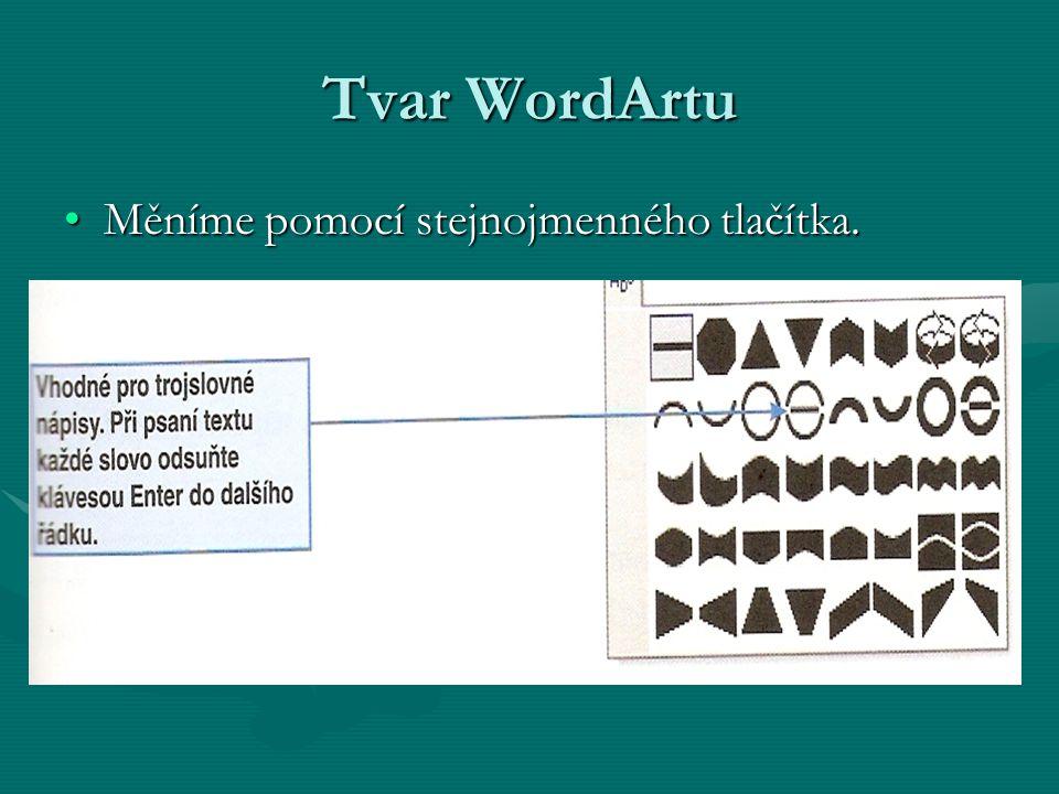 Tvar WordArtu Měníme pomocí stejnojmenného tlačítka.