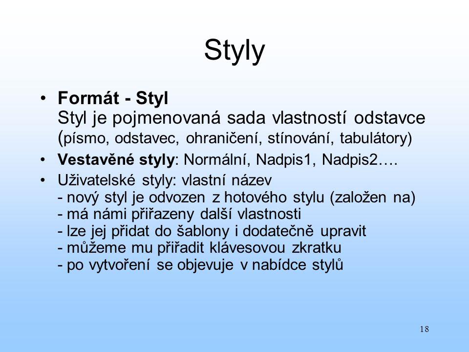 Styly Formát - Styl Styl je pojmenovaná sada vlastností odstavce (písmo, odstavec, ohraničení, stínování, tabulátory)