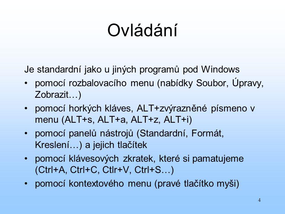 Ovládání Je standardní jako u jiných programů pod Windows