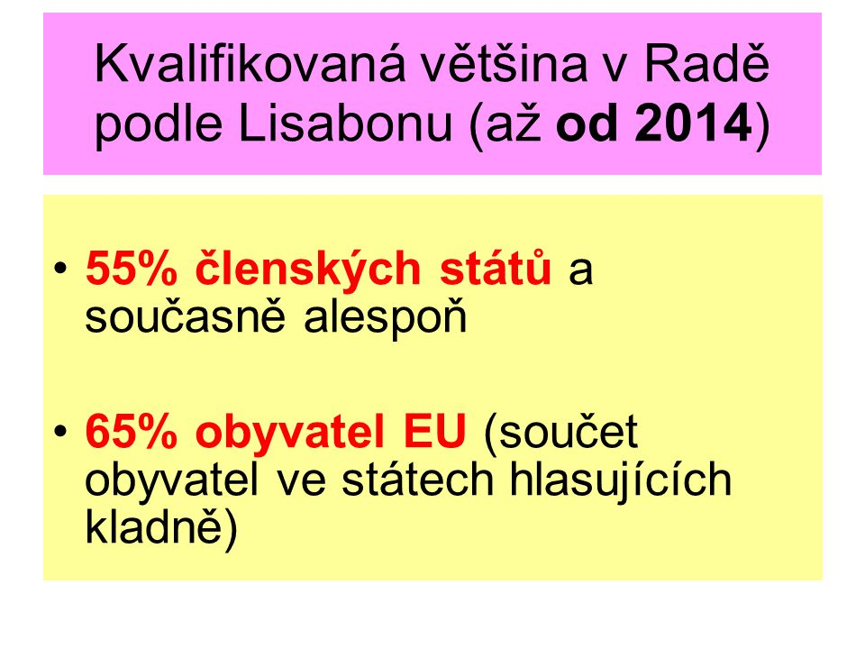 Kvalifikovaná většina v Radě podle Lisabonu (až od 2014)
