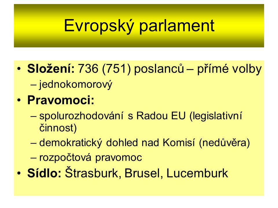 Evropský parlament Složení: 736 (751) poslanců – přímé volby