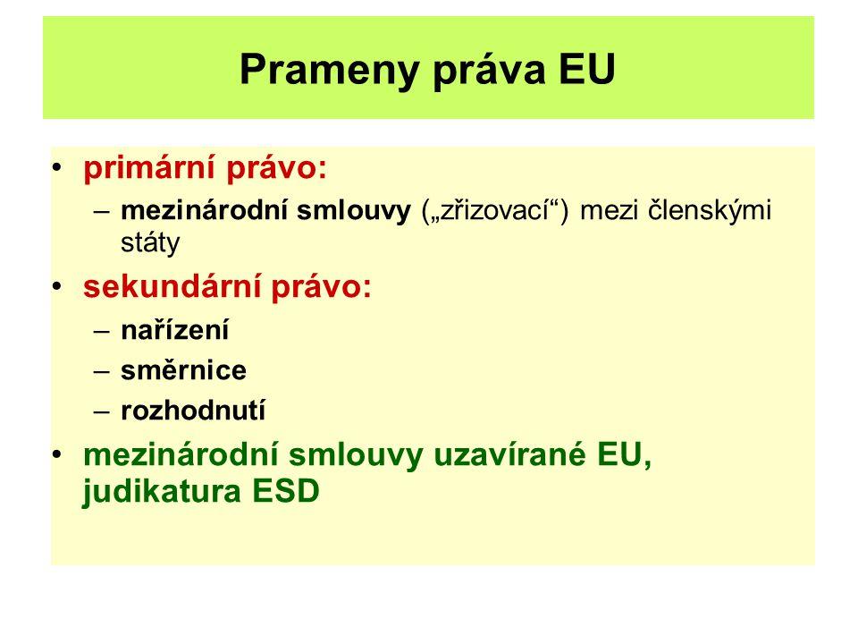 Prameny práva EU primární právo: sekundární právo: