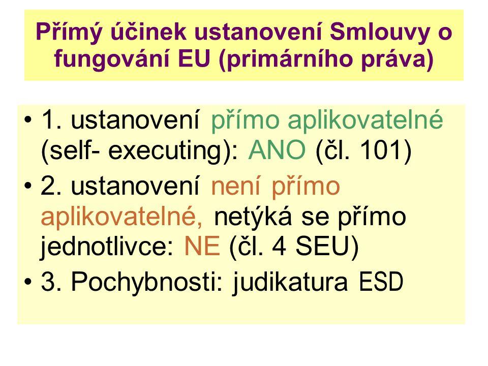 Přímý účinek ustanovení Smlouvy o fungování EU (primárního práva)