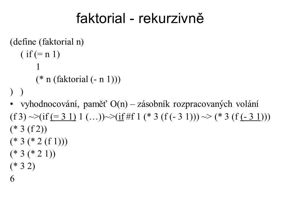 faktorial - rekurzivně