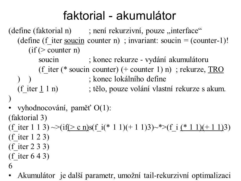 faktorial - akumulátor