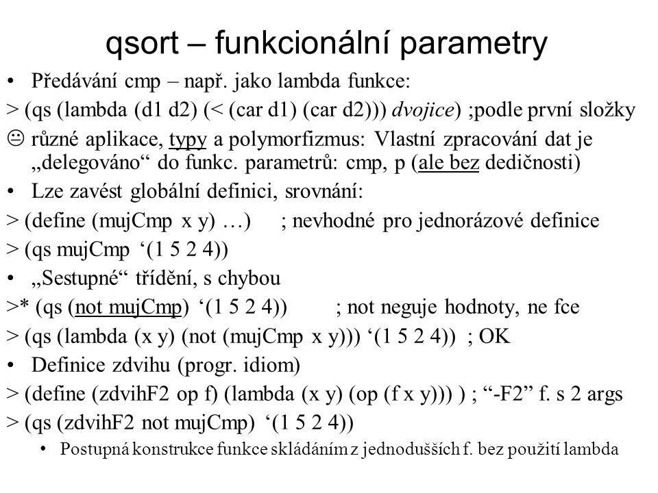 qsort – funkcionální parametry