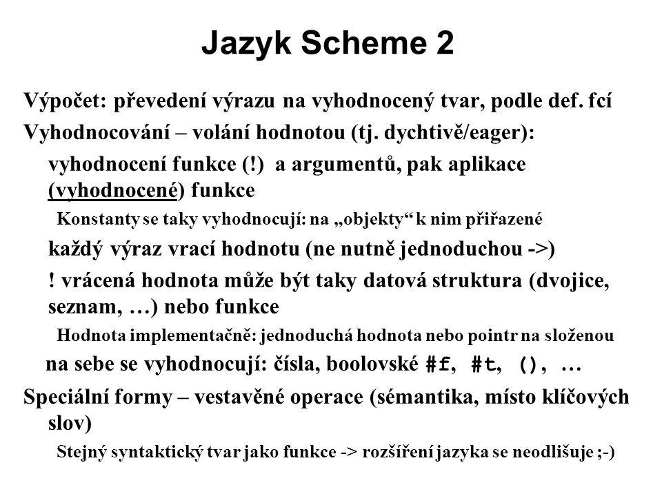 Jazyk Scheme 2 Výpočet: převedení výrazu na vyhodnocený tvar, podle def. fcí. Vyhodnocování – volání hodnotou (tj. dychtivě/eager):