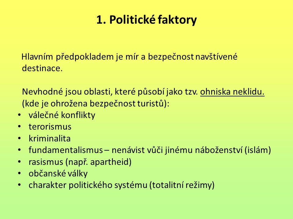 1. Politické faktory destinace.