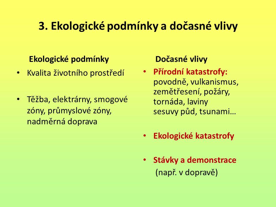 3. Ekologické podmínky a dočasné vlivy