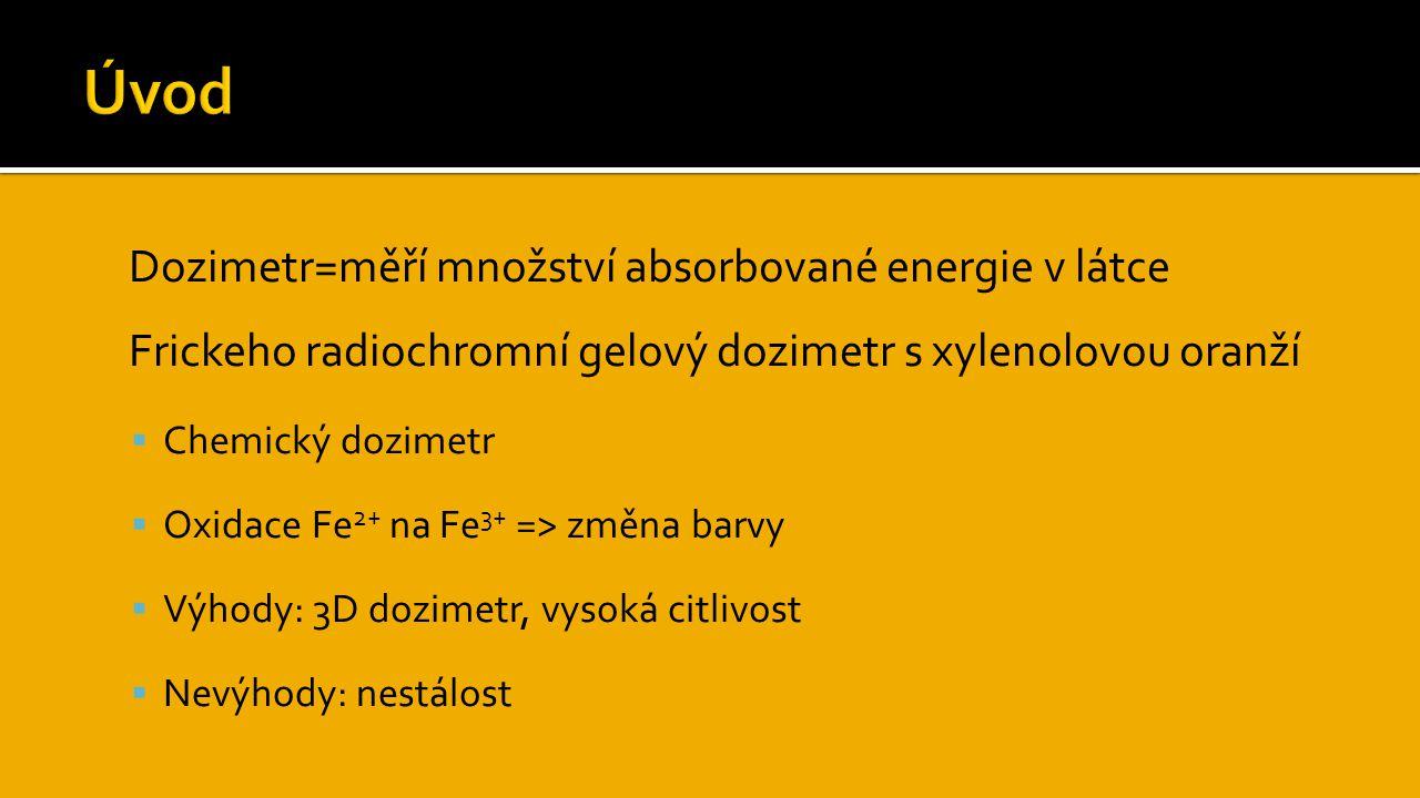 Úvod Dozimetr=měří množství absorbované energie v látce
