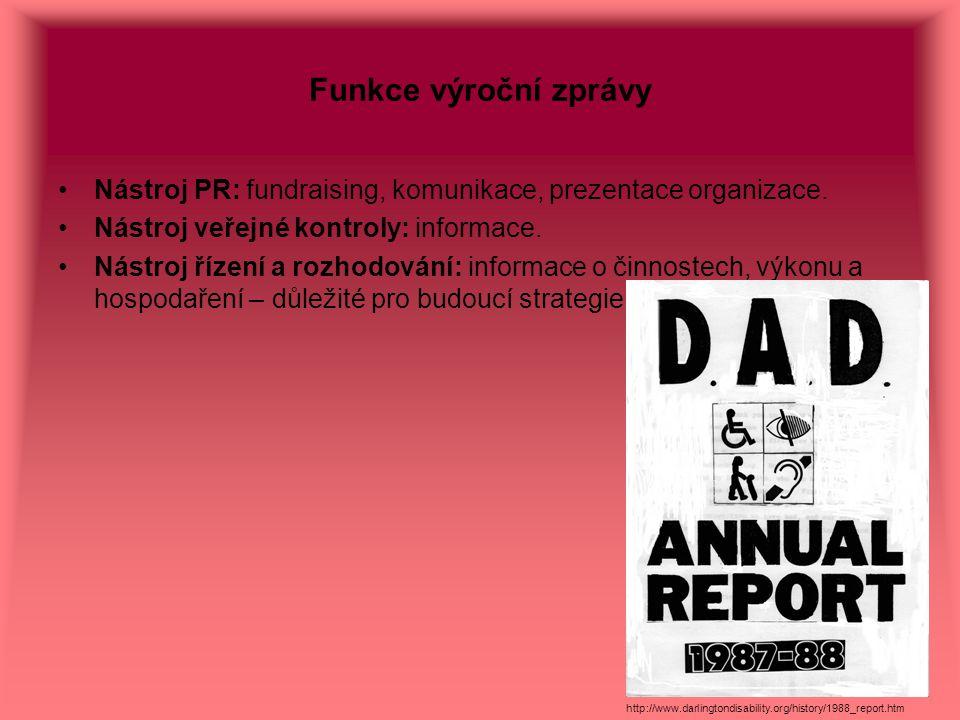Funkce výroční zprávy Nástroj PR: fundraising, komunikace, prezentace organizace. Nástroj veřejné kontroly: informace.