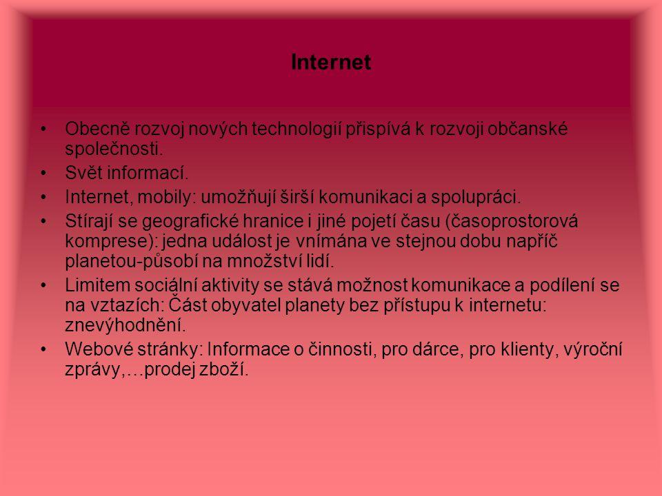 Internet Obecně rozvoj nových technologií přispívá k rozvoji občanské společnosti. Svět informací.