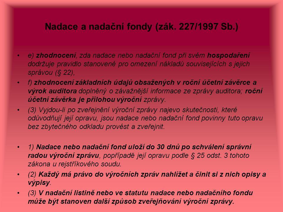 Nadace a nadační fondy (zák. 227/1997 Sb.)