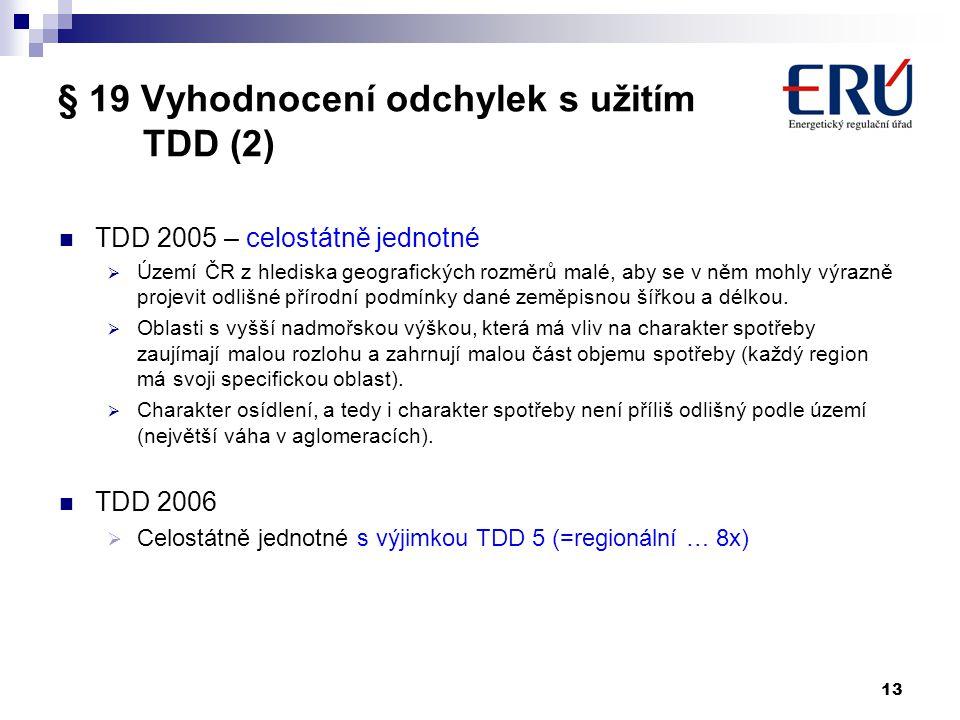 § 19 Vyhodnocení odchylek s užitím TDD (2)