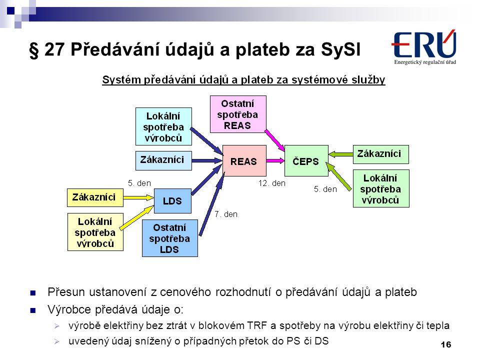 § 27 Předávání údajů a plateb za SySl