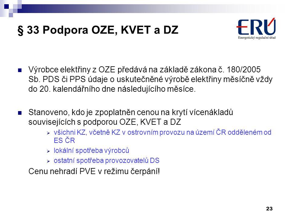 § 33 Podpora OZE, KVET a DZ