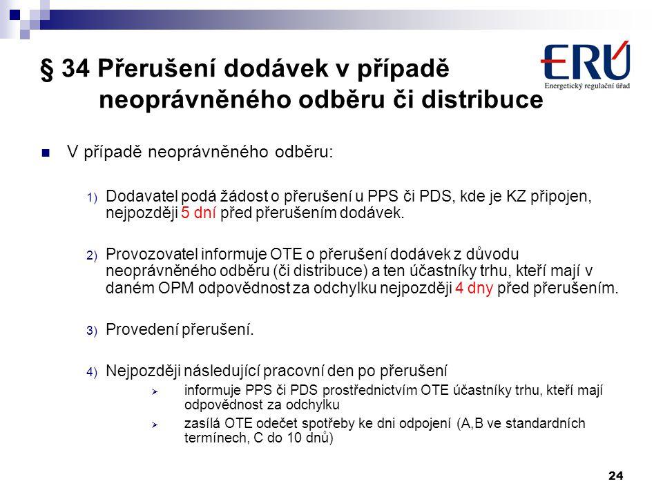 § 34 Přerušení dodávek v případě neoprávněného odběru či distribuce