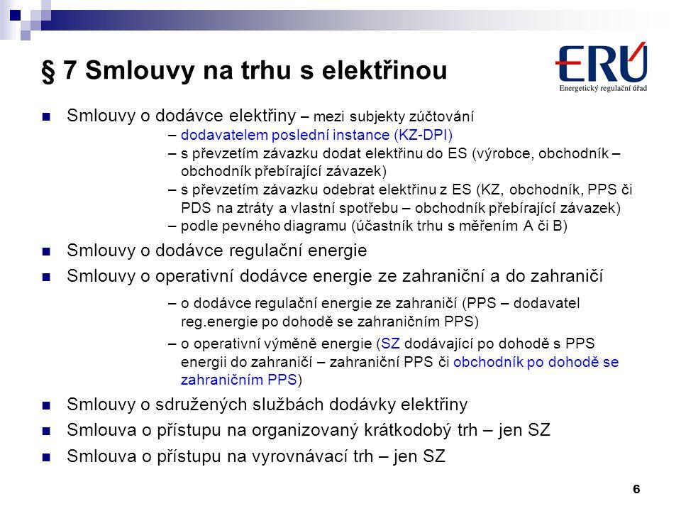 § 7 Smlouvy na trhu s elektřinou