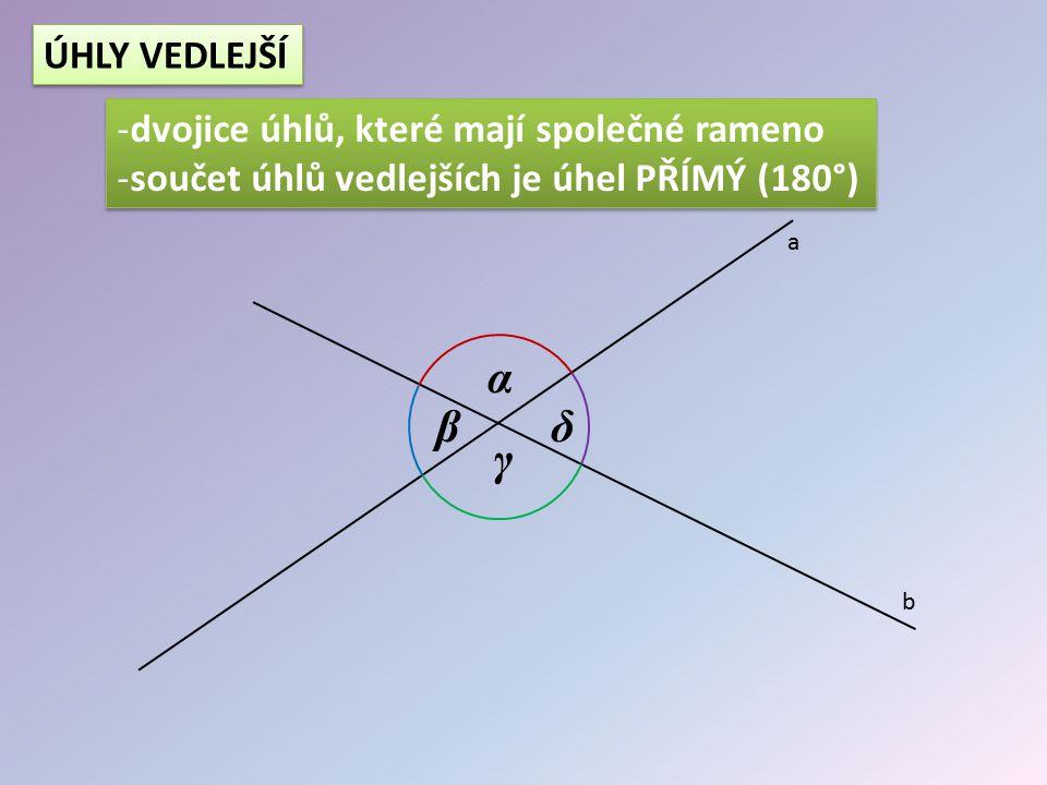 α β δ γ ÚHLY VEDLEJŠÍ dvojice úhlů, které mají společné rameno
