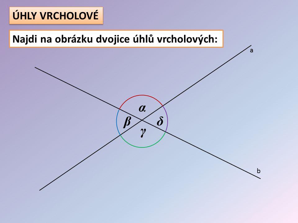 ÚHLY VRCHOLOVÉ Najdi na obrázku dvojice úhlů vrcholových: a α β δ γ b