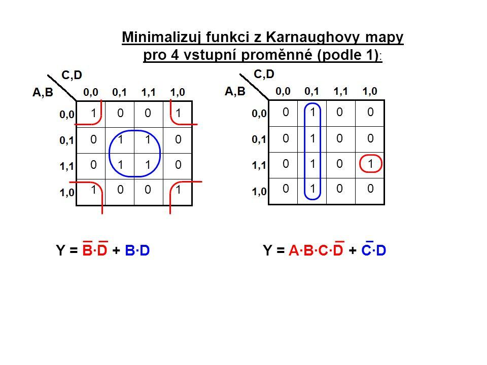 Minimalizuj funkci z Karnaughovy mapy pro 4 vstupní proměnné (podle 1):