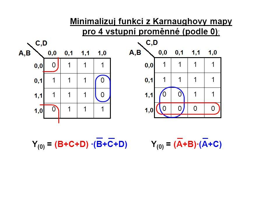 Minimalizuj funkci z Karnaughovy mapy pro 4 vstupní proměnné (podle 0):