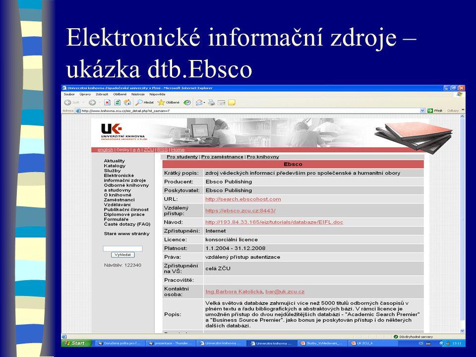 Elektronické informační zdroje – ukázka dtb.Ebsco
