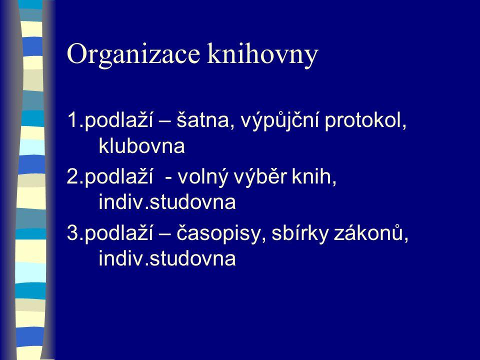 Organizace knihovny 1.podlaží – šatna, výpůjční protokol, klubovna