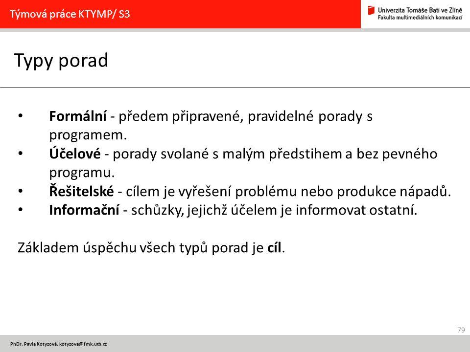 Týmová práce KTYMP/ S3 Typy porad. Formální - předem připravené, pravidelné porady s programem.