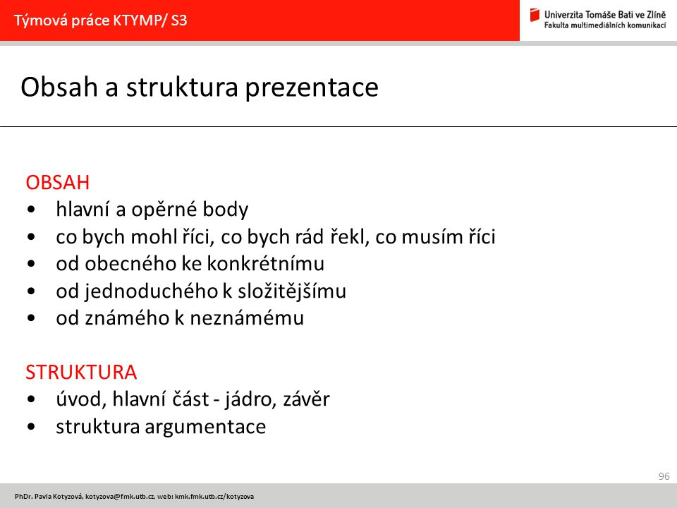 Obsah a struktura prezentace