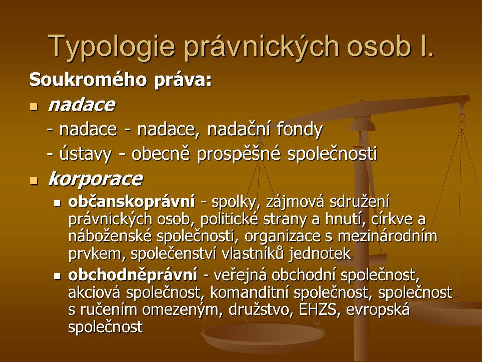 Typologie právnických osob I.