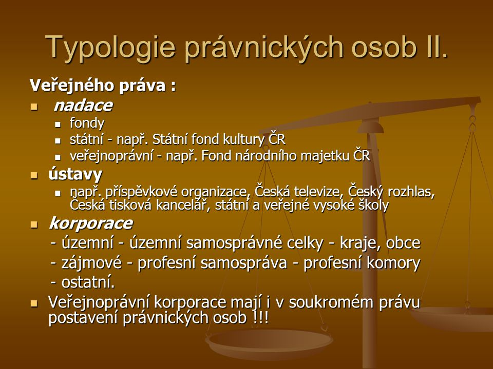 Typologie právnických osob II.