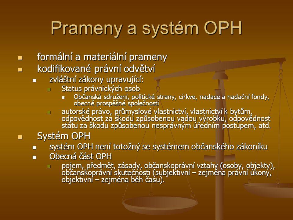 Prameny a systém OPH formální a materiální prameny