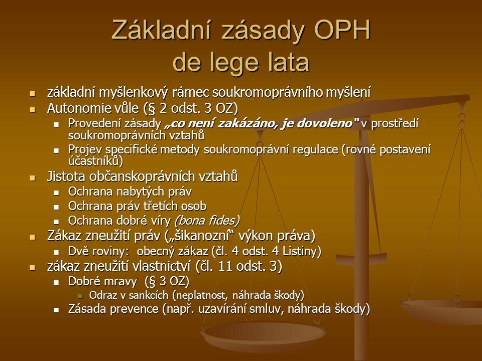 Základní zásady OPH de lege lata