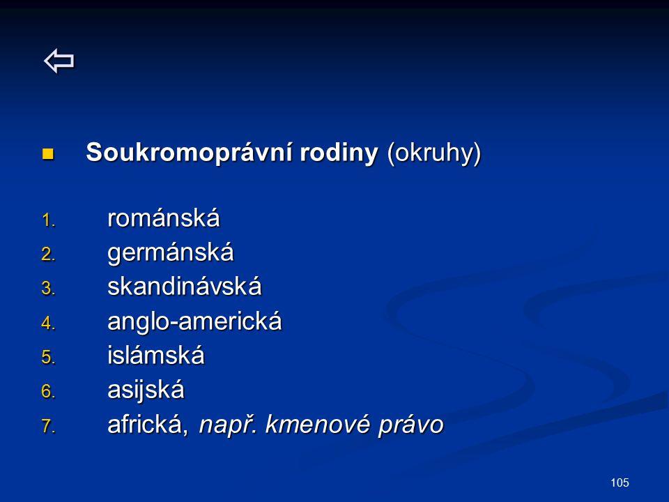  Soukromoprávní rodiny (okruhy) románská germánská skandinávská
