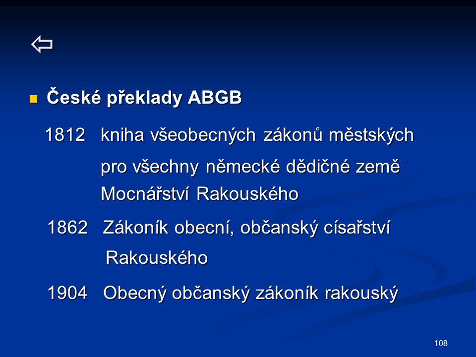  České překlady ABGB 1812 kniha všeobecných zákonů městských