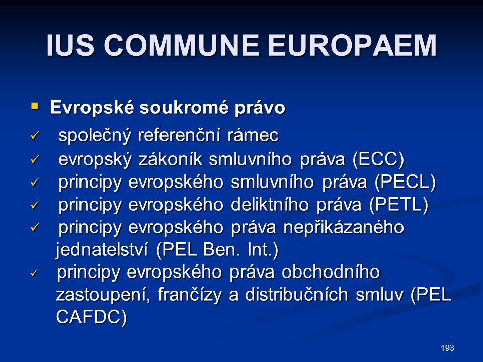 IUS COMMUNE EUROPAEM společný referenční rámec