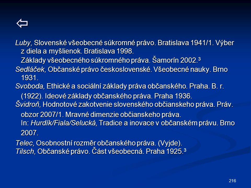  Luby, Slovenské všeobecné súkromné právo. Bratislava 1941/1. Výber