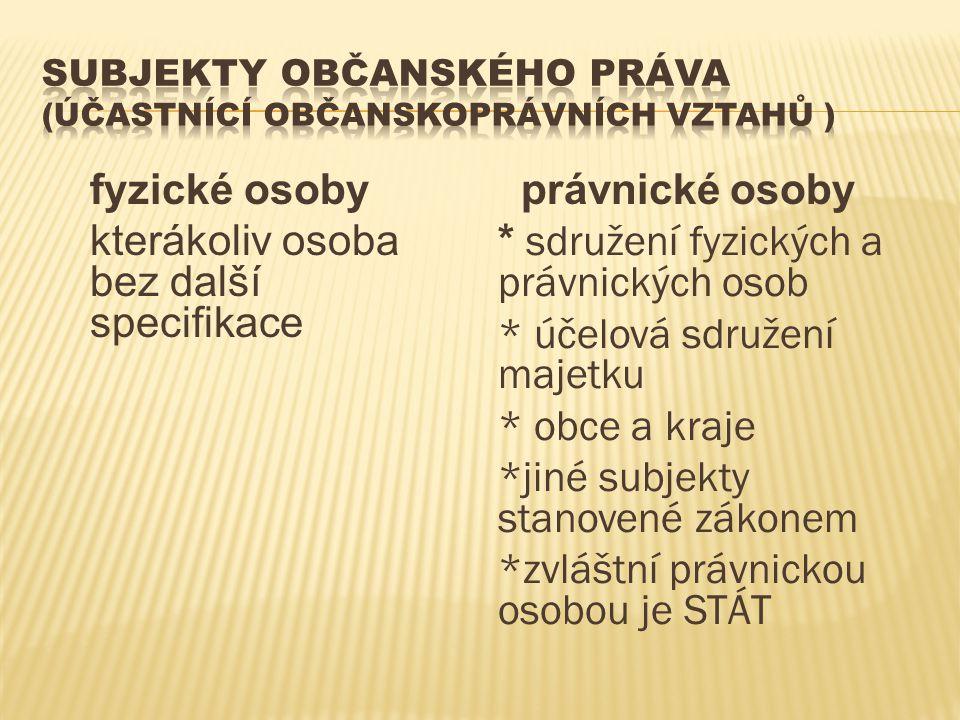 Subjekty občanského práva (účastnící občanskoprávních vztahů )