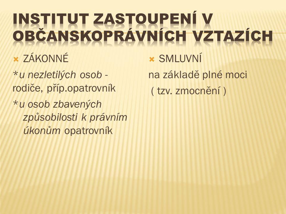 Institut Zastoupení v občanskoprávních vztazích