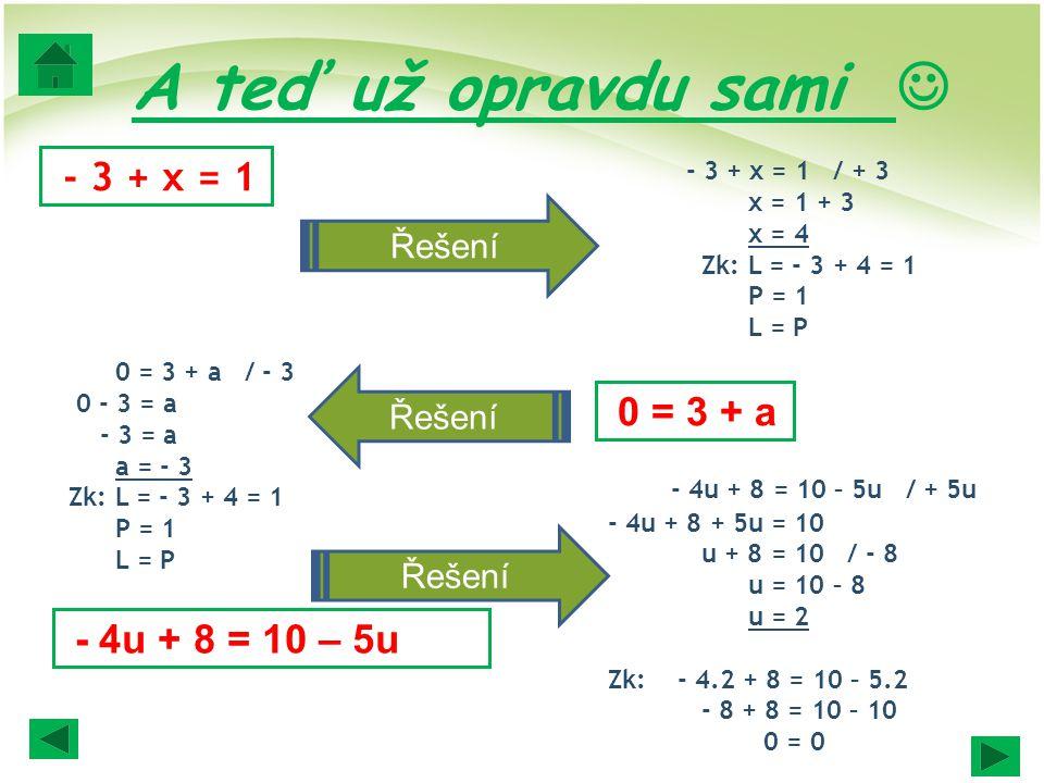 A teď už opravdu sami  - 3 + x = 1 Řešení Řešení 0 = 3 + a