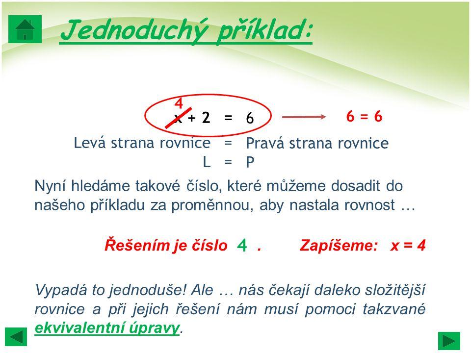 Jednoduchý příklad: 4 4 x + 2 Levá strana rovnice L = = =