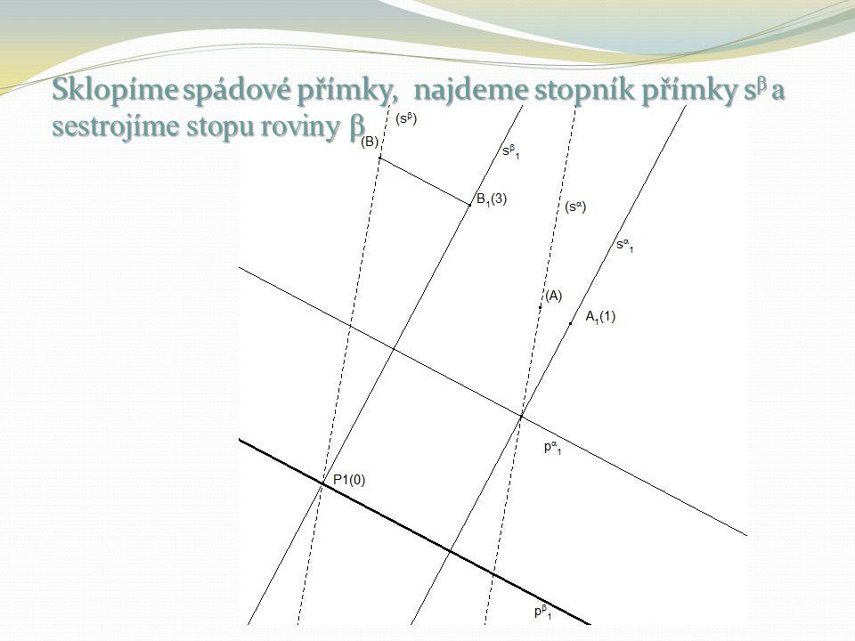 Sklopíme spádové přímky, najdeme stopník přímky sβ a sestrojíme stopu roviny β