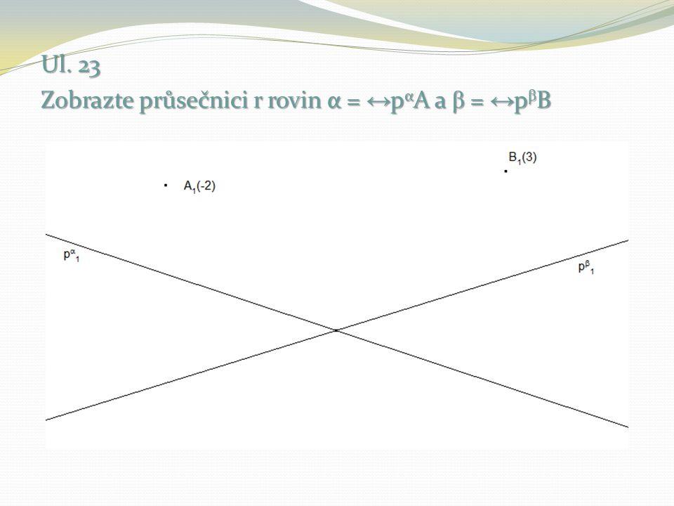 Ul. 23 Zobrazte průsečnici r rovin α = ↔pαA a β = ↔pβB