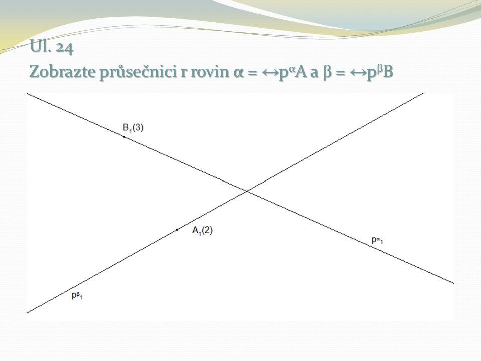 Ul. 24 Zobrazte průsečnici r rovin α = ↔pαA a β = ↔pβB
