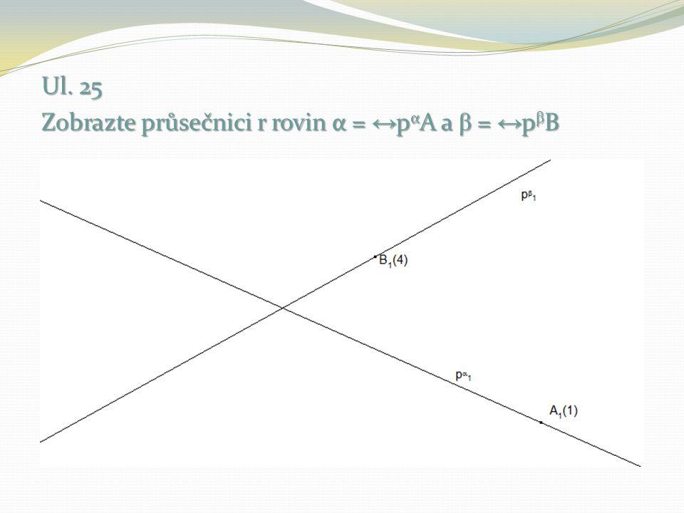 Ul. 25 Zobrazte průsečnici r rovin α = ↔pαA a β = ↔pβB