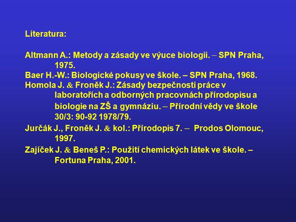 Literatura: Altmann A.: Metody a zásady ve výuce biologii. – SPN Praha, 1975. Baer H.-W.: Biologické pokusy ve škole. – SPN Praha, 1968.