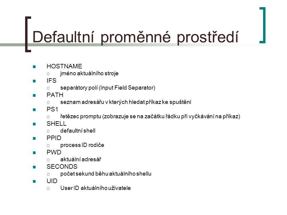 Defaultní proměnné prostředí