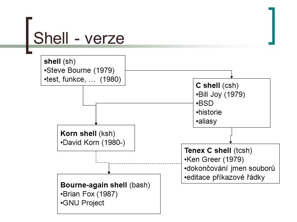 Shell - verze shell (sh) Steve Bourne (1979) test, funkce, … (1980)